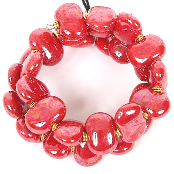 Kazuri Bracelets Flat - Bright red m.o.p.