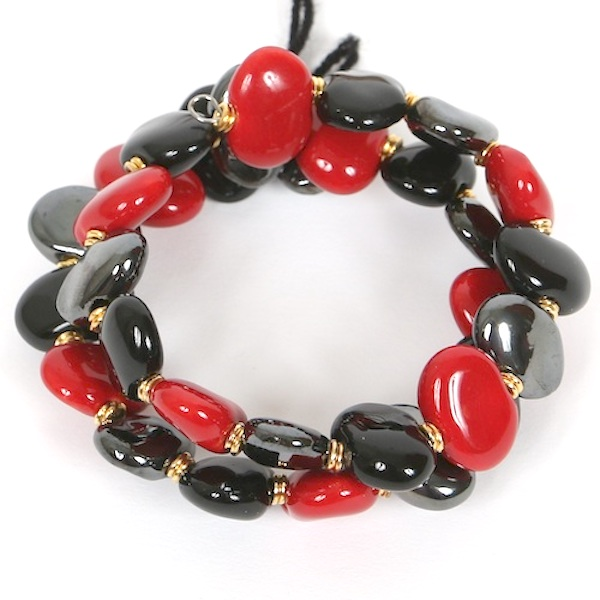 Kazuri Bracelets Flat - Bright red:Black:Pewter